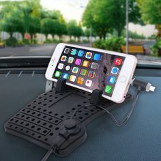 [$4.32] YK-22 Silicone Pad Dash Mat Cell Phone Car Mount Holder Cradle Dock With 2 in 1 Charging Cable With Magnetic Adsorption Stander For Phone and GPS