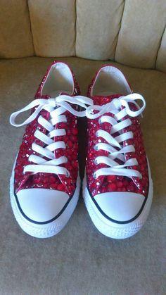 Red converse. Rhinestone converse. Low top. Short converse shoes. High top  converse b8da987054