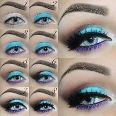 Maquillage yeux bleu ciel et violet