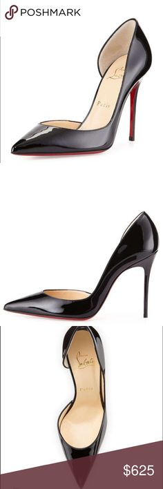 Louboutin's Iriza Patent d'Orsay Pump, Black 100mm heel version. Worn twice. Soles protected with rubber replacements installed by Neiman Marcus. Comes with original box and wrapping, dust bag, and replacement heel stops. Can't get closer to new! Christian Louboutin Shoes Heels
