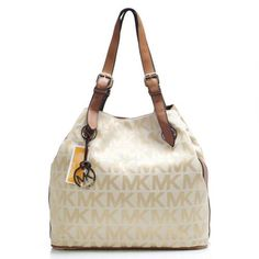 Michael Kors Logo Large Khaki Shoulder Bags Are High Quality And Cheap Price!