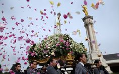The Fatima centenary is a major moment for the Church in England and Wales . The faithful throw petals as the statue of Our Lady is carried in procession at Fatima (AP)