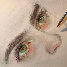 Beautiful eyes painting ☺️ Do you like green eyes? • Artis