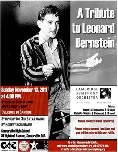Cambridge Symphony Orchestra - A Tribute to Leonard Bernstein - Sunday, November 13, 2011