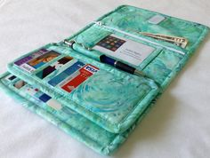 Sea-Foam Green Batik, with Turquoise and Violet Peacock Feather's Wallet, Woman's Handmade Checkbook Wallet, Women's Wallet, SeaFoam Batik