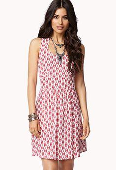 Dainty Ikat Crepe Dress   LOVE21 - 2078745014