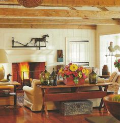 traditional country.  I just love the table behind the sofa!  It would look great with mine!  hmmm....maybe my husband could make one! :)