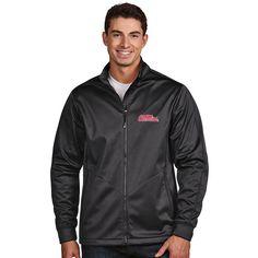 Ole Miss Rebels Antigua Golf Full-Zip Jacket - Charcoal