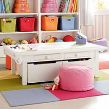The Land of Nod | Kids' Play Tables: Kids White Adjustable Activity Table in All Playroom