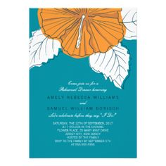 Stylish Modern Hibiscus Wedding Rehearsal Dinner Invitation in trendy teal and orange color combination. Designed as a template for easy customization. #modern #contemporary #orange #trendy #stylish #hibiscus #floral #flower #rehearsal #dinner #teal #invitation #invite #invites #invitations #custom #template #templates #customizable #original #beige #trend #drawing #illustration #summer #spring #blue #green #engagement #party #spring #wedding #summer #wedding #bridal #shower #simple #elegant…