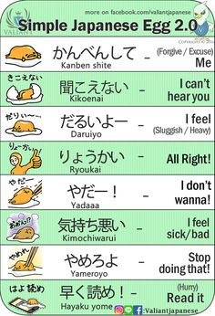 Learn Japanese for a real communication for your work, school project, and communicating with your Japanese mate properly. Many people think that Learning to speak Japanese language is more difficult than learning to write Japanese Japanese Egg, Study Japanese, Japanese Kanji, Japanese Culture, Learning Japanese, Japanese Quotes, Japanese Phrases, Japanese Language Lessons, Learn Japanese Words
