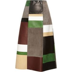 Derek Lam Patchwork Leather & Suede Skirt ($3,590) ❤ liked on Polyvore featuring skirts, high waisted knee length skirt, panel skirt, knee length a line skirt, suede skirt and brown suede skirt