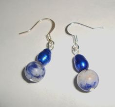 Freshwater Pearl and Stone Bead Earrings Royal by CoastalCreationz, $6.00