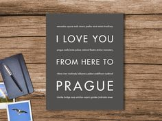 I Love You From Here To PRAGUE art print