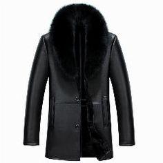 [ 49% OFF ] Black Coffe Men Leather Jacket Winter Minus 30.Full Warm Fur Men Down Coat Removable Fox Fur Collar Slim Size Men Jacket YYJ1