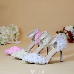 Charming Fuchsia Wedding Shoes 2018 Rhinestone 8 cm Crystal