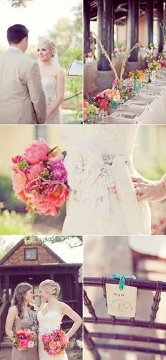 Colourful bouquet with grey bridesmaid dress and lace wedding dress =perfection!