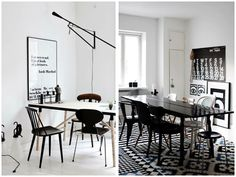 mismatching chairs via homesick Kitchen Dining, Dining Room, Dining Table, Mismatched Chairs, Scandinavian Home, Places To Eat, Perfect Place, Beautiful Homes, Interior Design