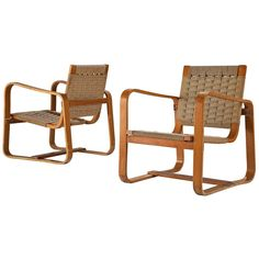 For Sale on - Giuseppe Pagano, pair of armchairs, beech and rope, Italy, 1942 This set of easy chairs made with layers of plywood has a boxy look has cubic armrests. Outdoor Chairs, Outdoor Furniture, Lounge Chairs, Brazilian Hardwood, Contemporary Armchair, Wood Chandelier, American Modern, Modern Pillows, Futuristic Design