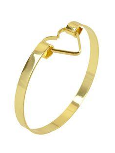 Dahlia Gold Heart Buckle Bangle   Dahlia