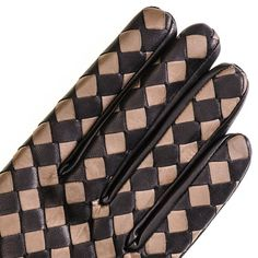 Long Black and Taupe Woven Leather Gloves - Detail