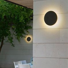 Decorate and lightup your outdoor area and create a stunning light reflection effect with this Modern Disc Light Reflect Lamp!Made from aluminium.Both lamp measures approximately x x source : AC. Wall Mounted Lamps, Led Wall Lamp, Outdoor Solar Lamps, Outdoor Lighting, Modern Outdoor Lights, Home Lighting, Modern Lighting, Exterior Lighting, Hanging Lights