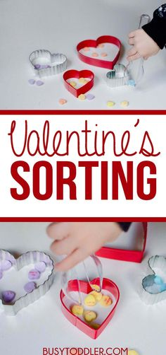 Valentine's Day Sorting Activity: a simple toddler activity with Conversation Hearts. Valentine Day Week, Valentine Theme, Valentines For Kids, Valentine Day Crafts, Valentine Stuff, Valentine Ideas, Fun Activities For Toddlers, Valentines Day Activities, Sorting Activities
