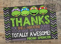Ninja Turtles Thank You Card Chalkboard TMNT Thank by OmbreDesigns