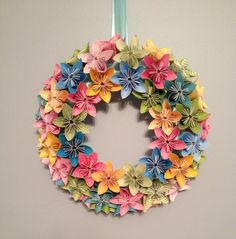 "Origami/Kusudama Spring Paper Flower Wreath 12""/ Flower Arrangement. $50.00, via Etsy."