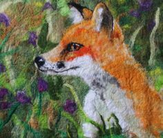 The Rural Fox, beautiful felted picture of a fox in a flowery meadow, framed ready to hang. by GardenGalleryDerbys on Etsy