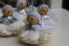 Silver christmas ornamentsHollidays angelsHandmade white by BYildi Silver Christmas, Christmas Angels, Christmas Ornaments, Handmade Angels, Handmade Gifts, Xmas Crafts, Xmas Decorations, Crafty, Holiday Decor