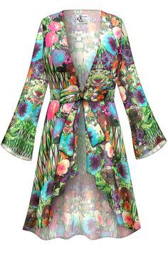 1466e18444 Customizable Bloomfield Print Sheer Blouse Swimsuit Coverup Plus Size    Supersize LG XL 0x 1x 2x