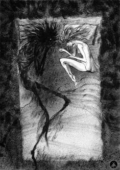 I like to watch you, Dmitry Khramtsov Creepy Drawings, Dark Art Drawings, Art Drawings Sketches, Fantasy Drawings, Pencil Art Drawings, Dark Art Illustrations, Art And Illustration, Dark Fantasy Art, Arte Obscura