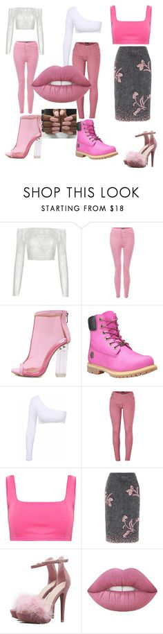 """pink madness 💖💖💕"" by shakeerahbaby ❤ liked on Polyvore featuring WithChic, Timberland, Venus and Prada"