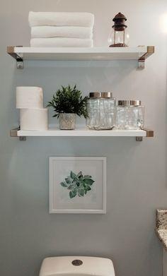 Easy DIY Bathroom Shelves for Storage Solution Shelves .- Easy DIY Bathroom Shelves for Storage Solution . Bathroom Storage Shelves, Bathroom Organization, Organization Ideas, White Bathroom Shelves, Bathroom Shelves Over Toilet, Storage Ideas, Small Toilet Room, Shelves Above Toilet, Bathroom Storage Solutions