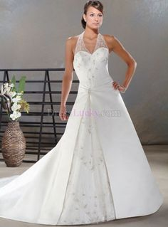 White A-Line/Princess Halter Sleeveless Church Wedding Dresses With Appliques WD290B