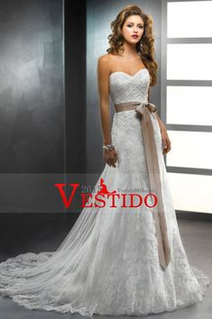 Vestido de boda bonito cariño Trompeta Con desmontable Sash