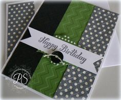 Masculine Birthday Card - Chevron embossing adds depth to this handmade birthday card with cool green and black colors. Masculine Birthday Cards, Birthday Cards For Men, Handmade Birthday Cards, Masculine Cards, Greeting Cards Handmade, Male Birthday, Birthday Crafts, Birthday Images, Birthday Quotes