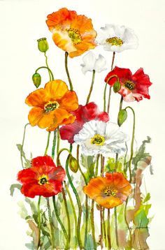 Happy Poppies by WatercolorsByDori on Etsy, $24.00