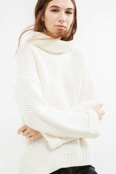 Pullover tricot maglia larga collo alto, Bianco latte