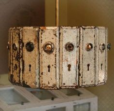 Vintage door plates light fixture!  LOVE!