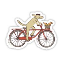 Cycling Dog and Squirrel Waterproof Die-Cut Sticker
