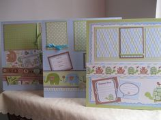 Three 12 x 12 Premade Srapbook Pages For Your Sweet Little Baby Boy on Etsy, $21.00