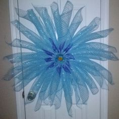 Spring/Summer Blue Deco Mesh Flower Wreaths