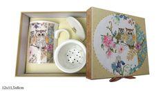 Teetassen Set mit Sieb und Deckel Eulenmotiv in Geschenkbox Porzellan Atelier, China China, Tea Cups, Paper Board, Packaging