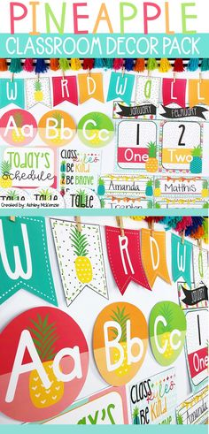 This fun and bright pineapple classroom decor pack is perfect for your classroom. This pack is editable to make your elementary classroom cute!   #pineappleclassroomdecor #pineappleclassroom #classroomthemes #classroomdecor #elementaryclassroomideas