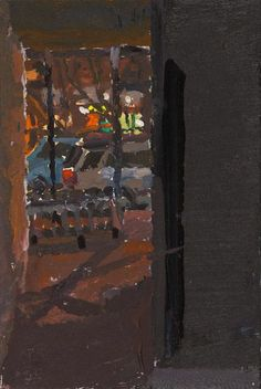 Susanna Coffey, From 208 Forsyth, 3/24/12, acrylic on panel, 6 x 4""