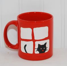Vintage Waechtersbach, Germany Red Coffee Mug with Black Cat in Window, Cat Collectible, Gift Idea, Pen Organizer, Black Cats Rock! by TooHipChicks on Etsy