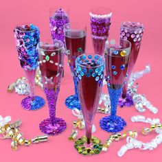 New Year's may be over, but that doesn't mean you can't sip in style! These bedazzled glasses would be great for a Shimmer and Shine themed party!