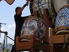 At a local festival in Arita.  Side of the drum are made of Arita porcelain!!!
